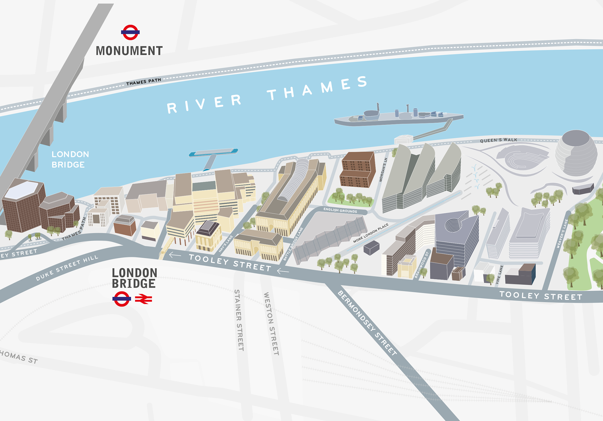 London City Area Map.Eat Drink And Shop On The Thames London Bridge City