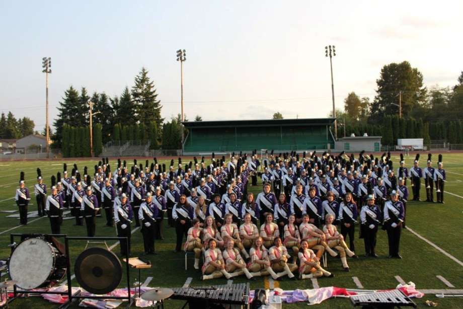 Kamiak High School Show Band Stood In Field for Photo