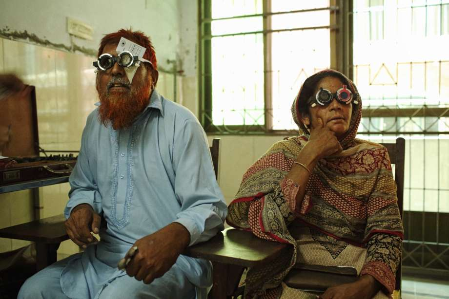 Man and Women wearing optical Equipment